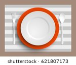 plate  spoon and fork isolated... | Shutterstock .eps vector #621807173