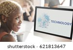 woman working on computer...   Shutterstock . vector #621813647