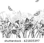 summer background with blooming ... | Shutterstock .eps vector #621835397