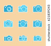 set of photo camera icon or... | Shutterstock .eps vector #621839243