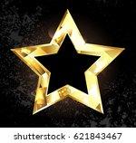 gold  glittering  polygonal... | Shutterstock . vector #621843467