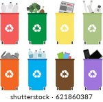 different colored recycle waste ...   Shutterstock .eps vector #621860387