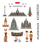 Indonesia Landmarks and Culture Object Set, National Symbol and Architecture, Travel and Tourist Attraction | Shutterstock vector #621882533