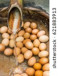 boiled eggs from hot spring...   Shutterstock . vector #621883913