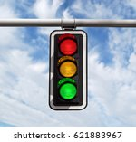 Small photo of Traffic light against blue sky background with Clipping Path