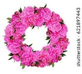 pink peony flowers wreath... | Shutterstock . vector #621897443
