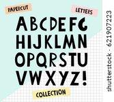 paper cutout letters. black... | Shutterstock .eps vector #621907223