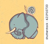 huge elephant with a tiny snail ... | Shutterstock .eps vector #621910733