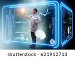 man doctor in futuristic... | Shutterstock . vector #621912713