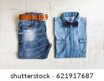 men's casual outfits with... | Shutterstock . vector #621917687
