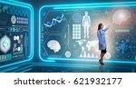 woman doctor in futuristic... | Shutterstock . vector #621932177
