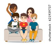 friends around couch having fun ... | Shutterstock .eps vector #621939737