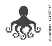 stylized silhouette of octopus. | Shutterstock .eps vector #621957467