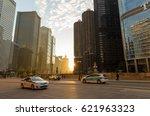 Chicago Golden Sunset Between...