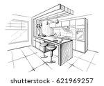 Interior sketch of modern kitchen with island. | Shutterstock vector #621969257