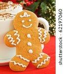 homemade gingerbread man cookie ... | Shutterstock . vector #62197060