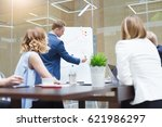 business team and coworkers are ... | Shutterstock . vector #621986297