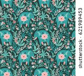 vector seamless pattern with... | Shutterstock .eps vector #621989453