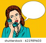 woman with phone pop art retro... | Shutterstock . vector #621989603