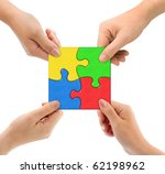 Hands And Puzzle Team Isolated...