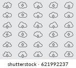 cloud line icons set  outline... | Shutterstock .eps vector #621992237