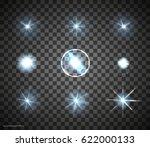 set of vector glowing light... | Shutterstock .eps vector #622000133