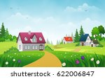 village landscape with green... | Shutterstock .eps vector #622006847