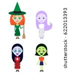 cute vector witches... | Shutterstock .eps vector #622013393