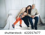 grandfather with granddaughter... | Shutterstock . vector #622017677