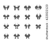 set of butterfly icon vector | Shutterstock .eps vector #622022123