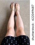 selfie feet wearing gold... | Shutterstock . vector #622049687