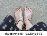 selfie feet wearing gold... | Shutterstock . vector #622049693