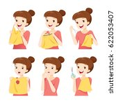 girl sewing clothes by hand set ... | Shutterstock .eps vector #622053407