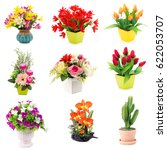 bouquet of plastic flowers.... | Shutterstock . vector #622053707