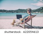 young hipster man with laptop...   Shutterstock . vector #622054613