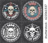 skull vector logo set. pirates... | Shutterstock .eps vector #622061537