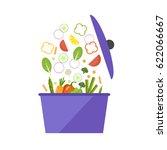 saucepan with vegetables. flat... | Shutterstock .eps vector #622066667