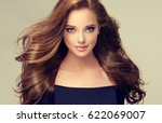 brunette  girl with long  and ... | Shutterstock . vector #622069007