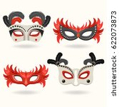 set of carnival mask with... | Shutterstock .eps vector #622073873