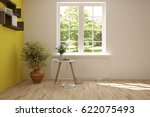 white empty room with green... | Shutterstock . vector #622075493