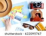 traveller set with camera and... | Shutterstock . vector #622095767