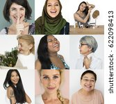 set of diversity women face... | Shutterstock . vector #622098413