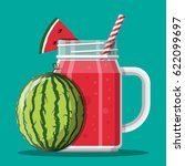 jar with watermelon smoothie... | Shutterstock .eps vector #622099697