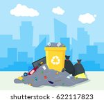 garbage dump or landfill on a... | Shutterstock .eps vector #622117823