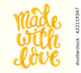 made with love poster with hand ... | Shutterstock .eps vector #622119347