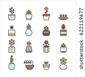 various plant flower pot line...   Shutterstock .eps vector #622119677