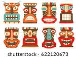 collection of tiki tribal mask. ... | Shutterstock .eps vector #622120673