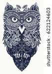 owl tattoo art. owl in ethnic... | Shutterstock .eps vector #622124603