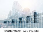 double exposure of coins and... | Shutterstock . vector #622142633