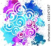 vector watercolor background.... | Shutterstock .eps vector #622147187